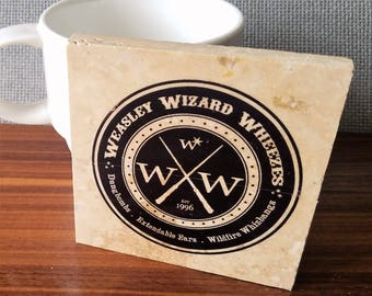 Weasley Wizard Wheezes Logo, Joke Shop Coaster, Harry Potter Coaster