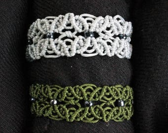 Macrame Flower Petal Bracelet with Beads