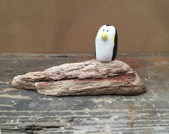 Handmade Driftwood with Clay Caricature Penguin Ornament