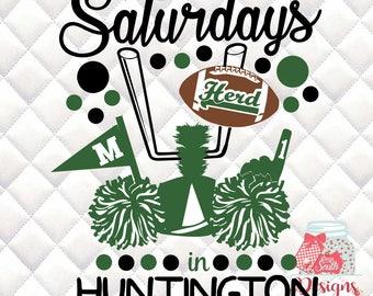Saturdays in Huntington - Marshall -  Tailgating, Gameday - SVG, Silhouette studio bundle - design download