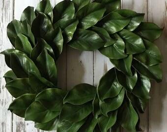 20 inch, Magnolia Wreath, Magnolia Leaf Wreath, Farmhouse Style Wreath, Everyday Wreath, Fixer Upper Style Wreath