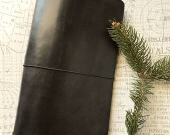 Genuine Leather Journal Cover - Black -