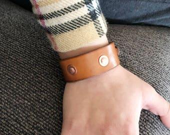Leaf Leather Bracelet - Copper Rivets Leather Bracelet - Leather Cuff