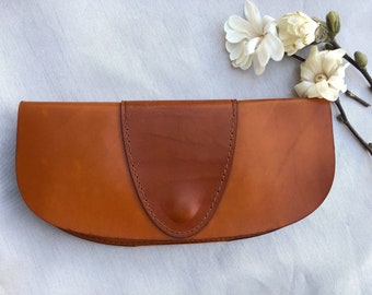 Handcrafted Genuine Leather  Purse  - Minimalist Leather Purse  - Handmade Leather Clutch - Leather Clutch Purse - Brown Leather Clutch