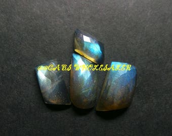 4 Pcs - Natural Labradorite One Side Checker Cut Fancy Cabochon - 12-16 MM - Labradorite Cabochons - High Quality - Wholesalegems