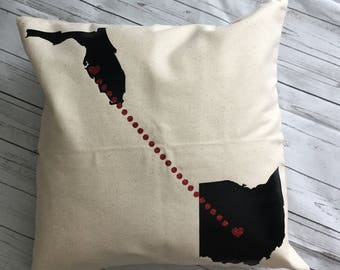 Custom state to state pillow, Long Distance Pillow, Couple Gift, Moving gift, Long Distance gift