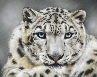 Snow Leopard Limited Edition Print from Original Pastel Painting of a Snow Leopard. Wall Art.Wildlife Art.Christmas gift.Big Cats. Painting.