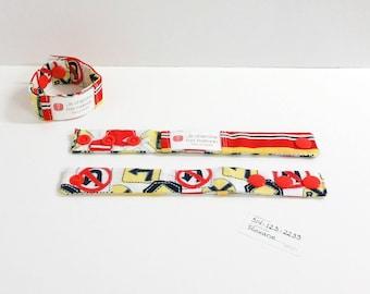 Kid identification bracelet, fabric bracelet, fabric cuff, road signs, READY TO SHIP