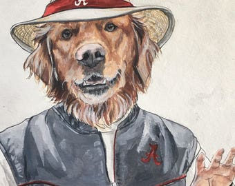 Dog Character Painting-Dog Portraits-Custom Watercolor Pet Portrait-Unique Gift-Funny-Alabama Football-College Football-Pet Portrait