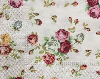 Paper Napkins for Decoupage 020, Decoupage Napkin Small Colourful Roses Flowers Rose Flower 020
