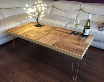 Handmade Rustic Oak Wood Coffee Table with Hairpin Legs