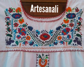 Mexican Hand Embroidered Floral Summer Dress size XL/