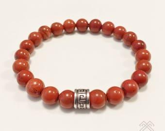 Mens bracelet - Red Jasper bracelet - Red Jasper beads - Beaded bracelet