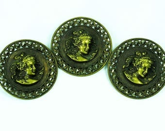 Antique French Miniature Brass Bas Relief Buttons