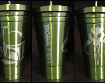 Star Wars Boba Fett Stainless Steel Tumbler with Straw