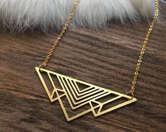 Brass Laser Cut Triangle Layering Necklace