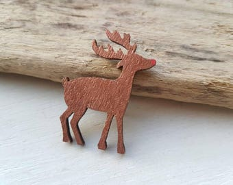 Rudolph the red nose reindeer brooch reindeer brooch deer brooch rudolph pin Christmas jewellery reindeer Deer jewelry stag jewellery
