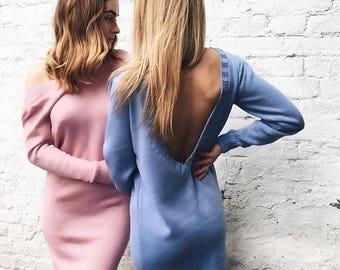 Party blue dress women pink Christmas gift V neck dress knee length clothing knit cotton dress sexy boho clothing  open back evening dress