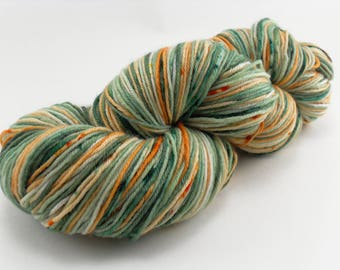Hand Dyed Sock Yarn MCN Speckled Pumpkin Sage Handdyed hand-dyed