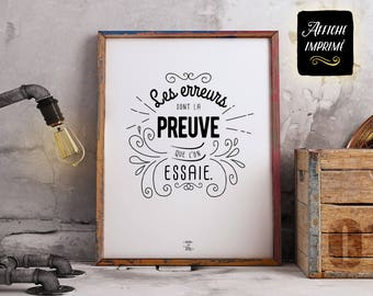 """Poster Print """"mistakes are proof..."""" - Definition, inspirational phrase, decoration, gift for teacher + BONUS label"""