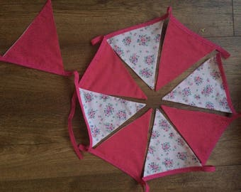 Floral pink bunting