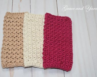 Crochet Dish Cloth, Crochet Wash Cloth, 3-pack