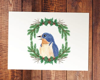 Swallow Watercolor Christmas Card or Print - Joy in Giving - Religious