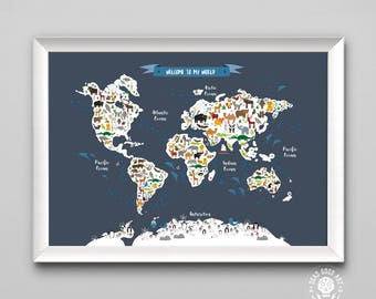Welcome To My World, Animal Map of the World, Personalised kids Poster,  Nursery Name Gift, Baby Art Poster,