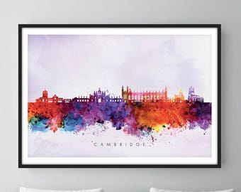 Cambridge Skyline, Cambridge England Cityscape Art Print, Wall Art, Watercolor, Watercolour Art Decor