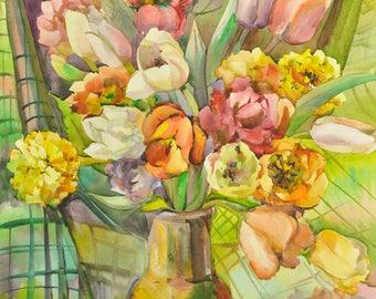 Floral Fine Art Watercolor Painting Tulips - Original Watercolour Home Decor