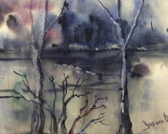 ORIGINAL Watercolor painting, watercolor landscape painting, home decor artwork,Landscape Watercolour Painting, Fine Art, blue, gray, purple