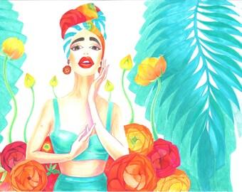 Fashion Illustration summer girl in swimsuit illustration Fashion art Fashion summer girl illustration swimsuit illustration