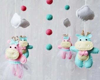 Baby crib mobile Hippos Felt mobile Baby mobile Felt crib mobile Nursery decor Felt nursery mobile Shower gift mobile Hippopotamus