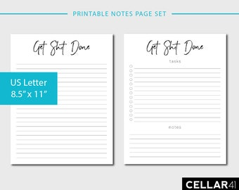 Printable To Do List, Printable Daily Planner, Get Shit Done, Checklist Printable, Notes Page, Printable Set, Minimalist, INSTANT DOWNLOAD