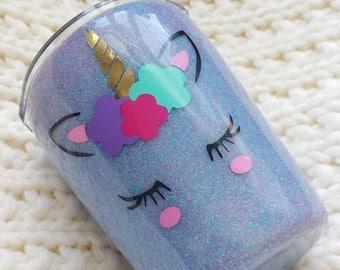 Kid's Unicorn Glitter Tumbler//Stainless Steel Tumbler//HOGG 8oz Tumbler//Glitter Dipped//Personalized Custom Animal//Toddler Straw Cup