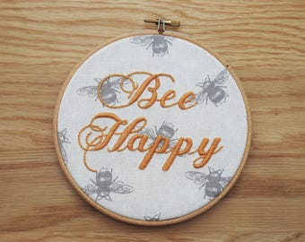 Bee Happy Embroidery Hoop Art - Honey Yellow and Beige Bees Wall Hanging - Handmade Embroidery - Unique Nursery Wall Decor - 6 Inch Hoop