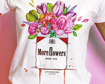 MORE FLOWERS - White Cotton T-shirt by LovelyBones Clothing