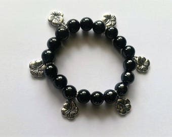 Bracelet lucky charm, lucky charm, beads, four leaf clovers charms