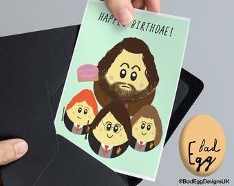"Harry Potter Birthday Card by BadEgg ""HAPPEE BIRTHDAE!"" - Harry Potter Ron Weasley Hagrid Inspired Greetings Card by BadEggDesignsUK"
