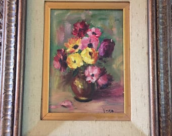 Vintage canvas framed oil painting