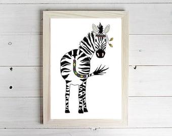 Safari Zebra - Unframed Art Print, Zebra Drawing, Nursery Picture, Animal Wall Art, Safari Print, Children's Decor, Kid's Bedroom Art.