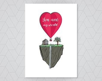 You are my world! - valentines card - card for him - card for wife - husband card - cute valentines card - girlfriend card - boyfriend card