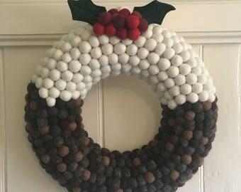 Christmas Pudding Wreath - Feltball Wreath - Christmas Wreath - Modern Wreath - Nordic Wreath - Christmas Door Hanging -Figgy Pudding Wreath