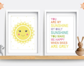Set of 2. Baby Nursery Print - You are my sunshine prints. Baby Nursery Decor. Baby Nursery Wall Art. Baby Boy Gift.