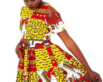African Print Ankara Tea Dress with cut out Sleeves African Clothing