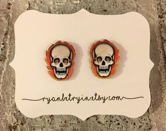 Flaming Skull Stud Earrings - Skull Studs - Fire Skull Earrings - Skeleton Earrings - Halloween Earrings - Halloween Studs - Flame Earrings
