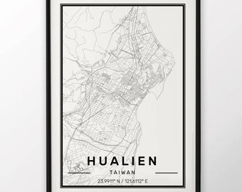 Hualien City Map Print Modern Contemporary poster in sizes 50x70 fit for Ikea frame 19.5 x 27.5 All city available London New York Paris