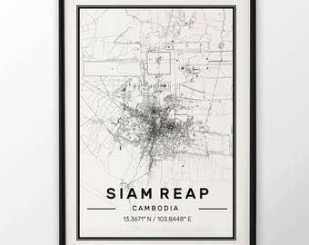 Saim Reap City Map Print Modern Contemporary poster in sizes 50x70 fit for Ikea frame 19.5 x 27.5 All city available London New York Paris