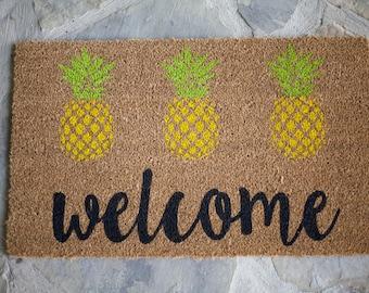 Door Mat, Welcome Mat, Outdoor Rug, Entry Mat, Welcome, Welcome Mat, Pineapple, Housewarming Gift, Wedding Gift, Jut Because Gift, Custom