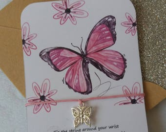 Wish String Bracelet - Pink Butterfly